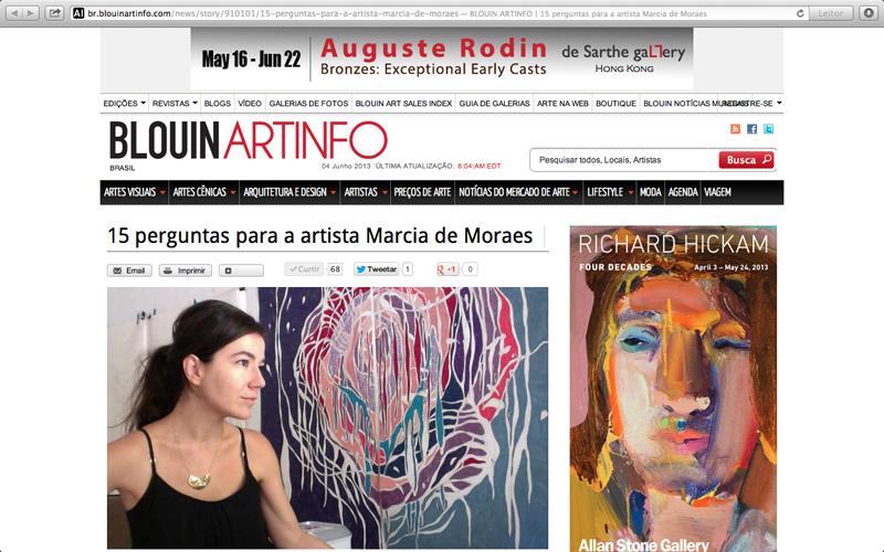 REGIS, Camila. 15 Perguntas para Marcia de Moraes, ARTINFO