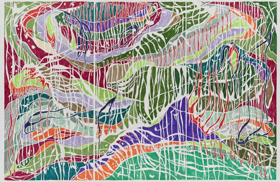 O Desabamento, 2012 Grafite e lápis de cor sobre papel (Graphite and colored pencil on paper) 140 x 210 cm Foto (photo): Ding Musa