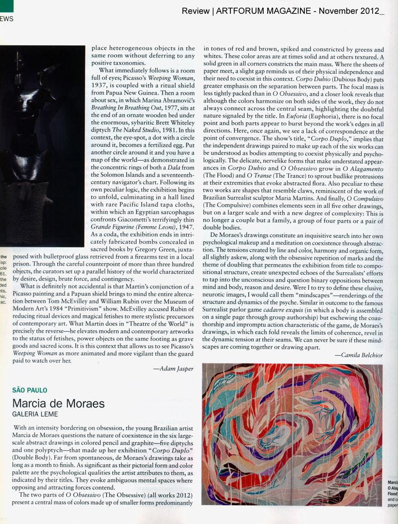 BELCHIOR, Camila. Marcia de Moraes, Galeria Leme, Review, ARTFORUM Magazine