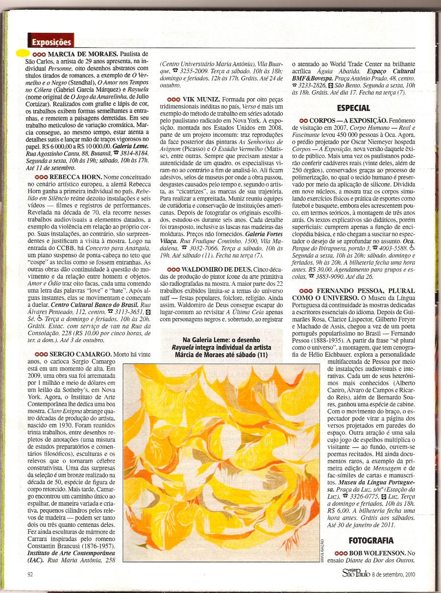 LOPES, Jonas. Marcia de Moraes, Personne, Revista Veja São Paulo, 2010