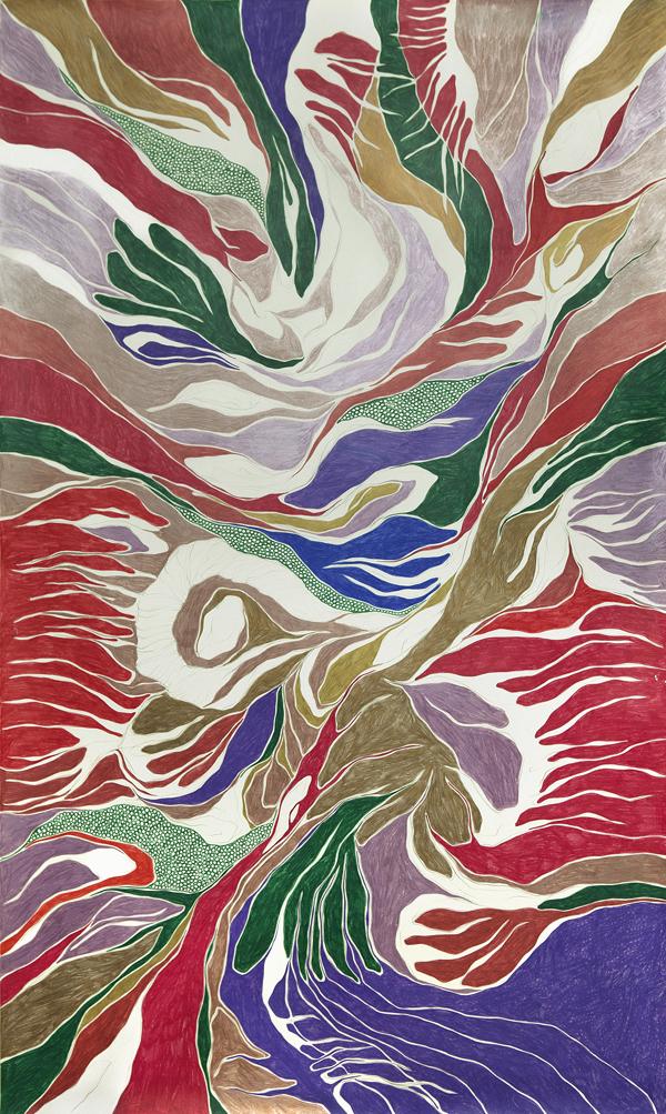 The Wild Palms, 2011 grafie e lápis de cor sobre papel 170 x 100 cm foto: Renan Rêgo