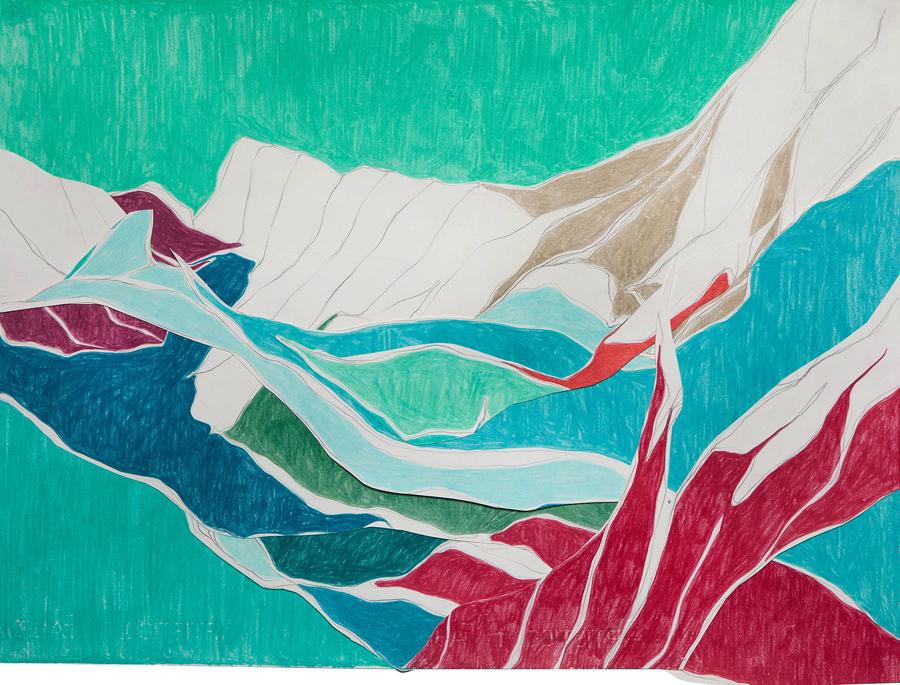 À deriva (Colagem), 2011 Grafite e lápis de cor sobre papéis colados 43 x 56 cm Foto: Renan Rêgo