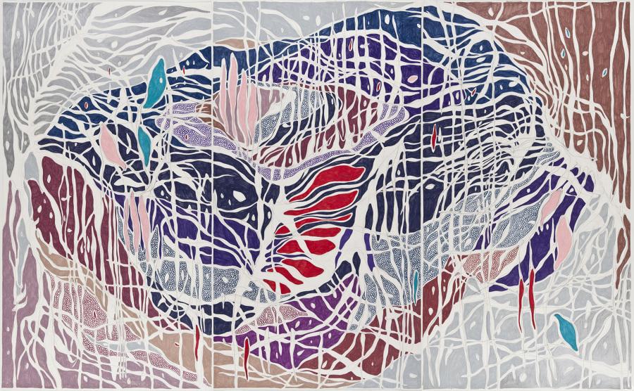 A Invasão, 2013 Grafite e lápis de cor sobre papel (Graphite and colored pencil on paper) 140 x 225 cm Foto (photo): Ding Musa