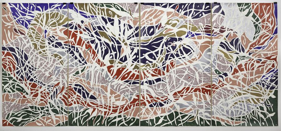El Extraño, 2013 Grafite e lápis de cor sobre papel (Graphite and colored pencil on paper) 140 x 325 cm Foto (photo) Gustavo Lowry